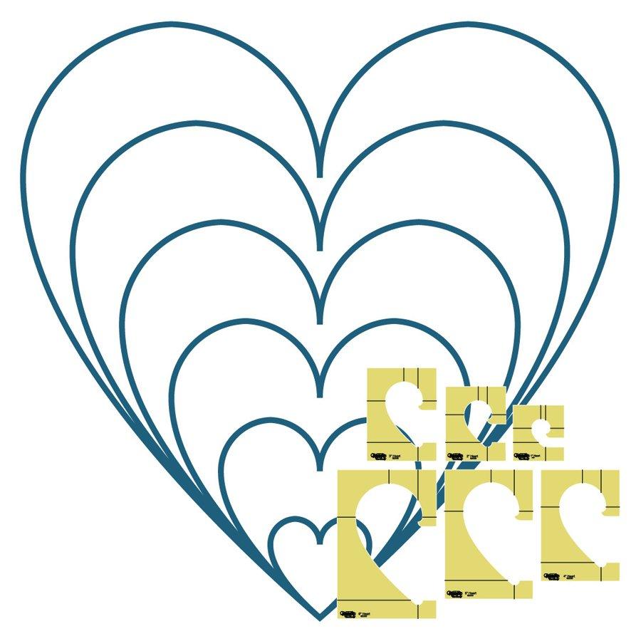 Westalee Heart Templates - 6 Piece Set - High Shank
