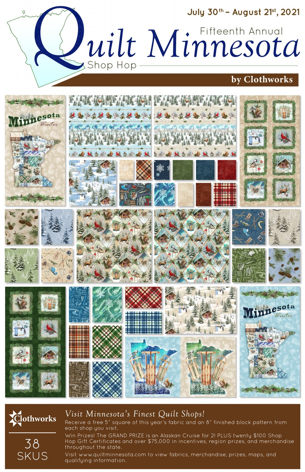 Quilt Minnesota 2021 Pre-cuts (28 pieces per pack)