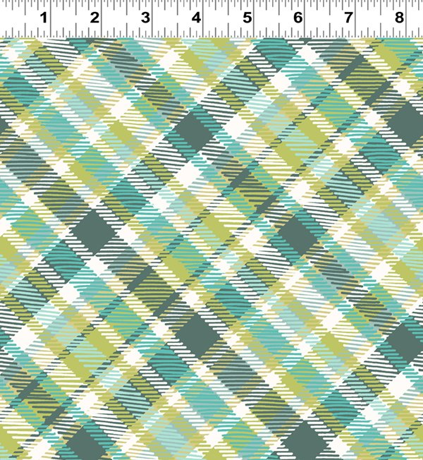 Diagonal Plaid Light Teal (Y2447-103)