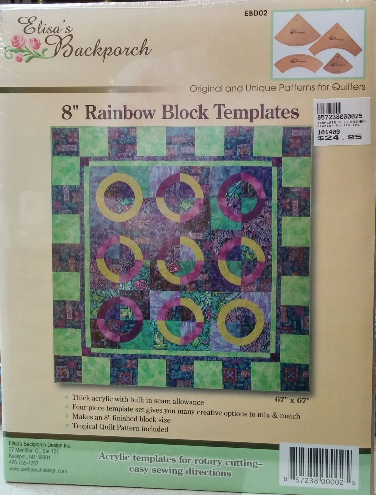 8 Rainbow Quilt Template from Elisa's Backporch Design