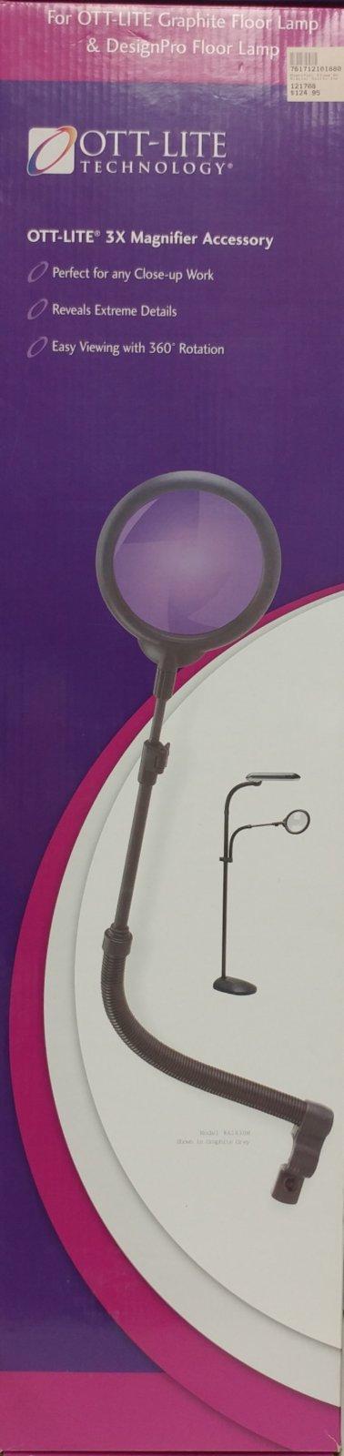 Ott-Lite 3X Magnifyer Clamp On Model A1830 Graphite Grey *