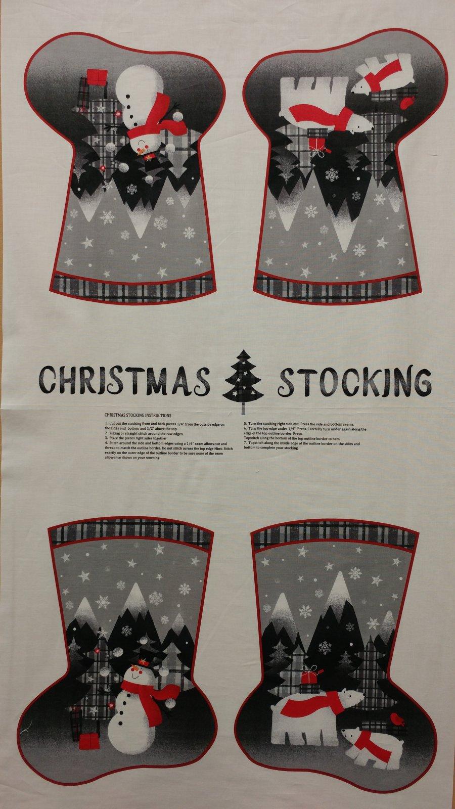 Christmas Stocking Panel #265 - Red & Grey