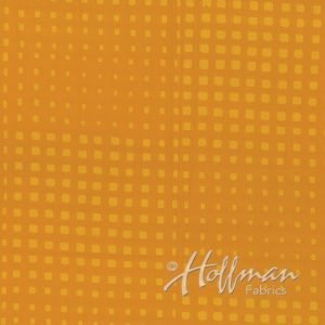 Hoffman Hand Dyed Batik - Random Squared Sunflower 154 150