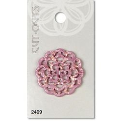 1 3/8  (34mm) Pink Cut Out Pearlized Button
