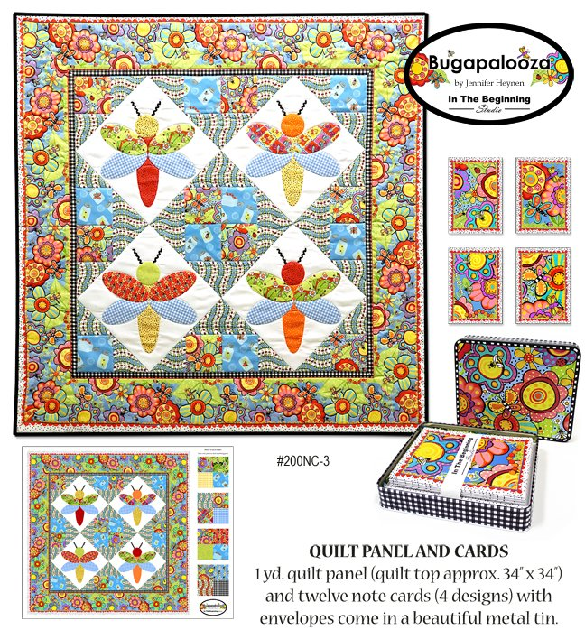 Giftware Bugapalooza Note Cards and Quilt Panel