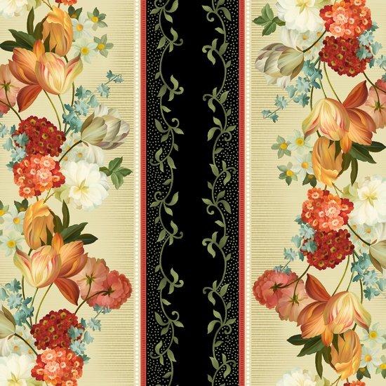 Les Fleurs Border Stripe 24357-E