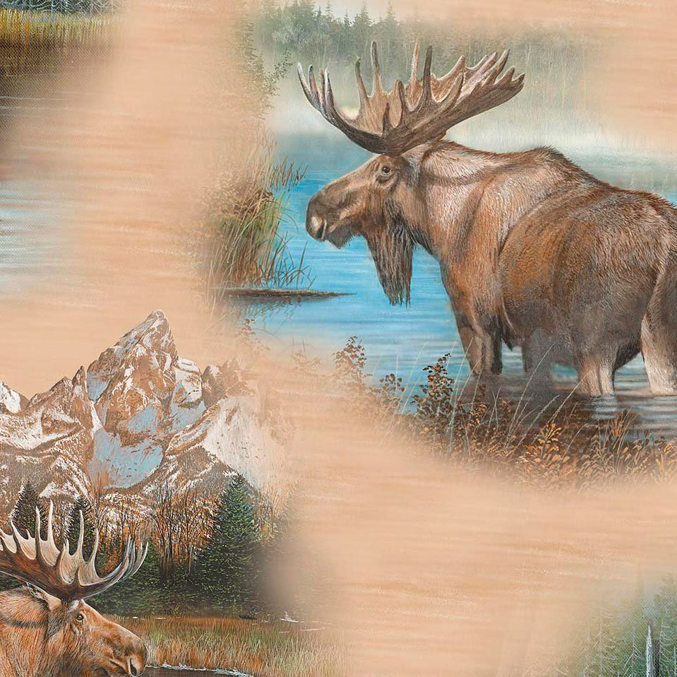 By Water's Edge - Moose Vignettes Tan 26042 A