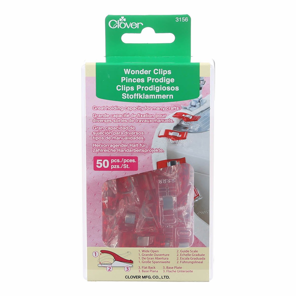 Clover Wonder Clips Red 50ct CLO3156 *