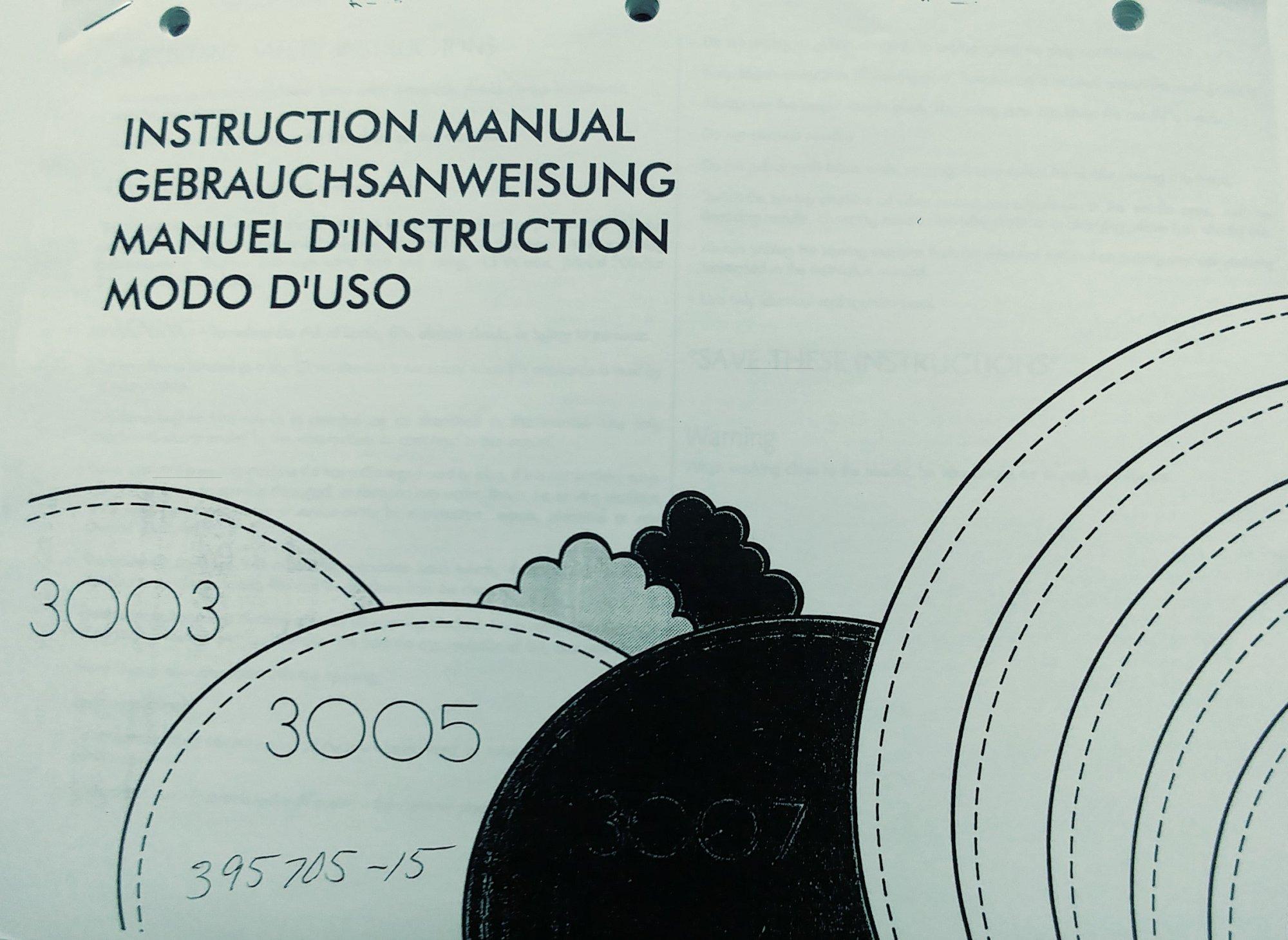 Instruction Manual Elna 3003 3005 3007