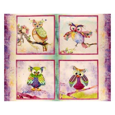 Boho Owls Digital Owl Panel #282 - Multi 13783
