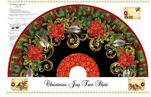 Christmas Joy Metallic Tree Skirt Panel #285 - Black
