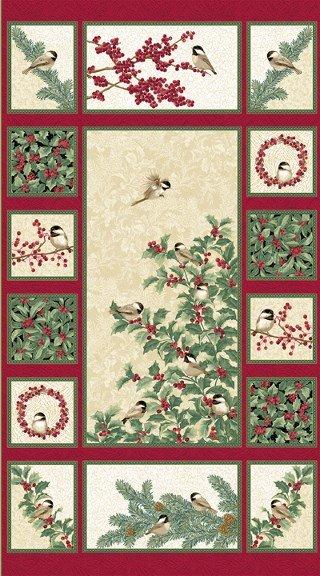 Chickadees & Berries Panel Multi 4741M 10