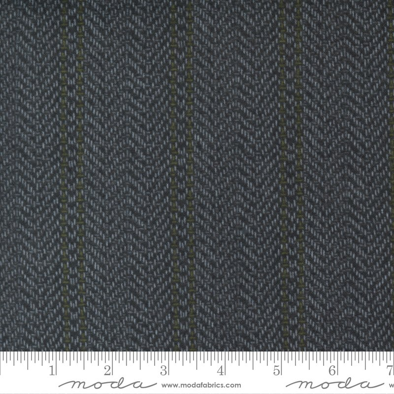 Yuletide Gatherings Flannels - Herringbone Stripe Blender 49141 15F Coal