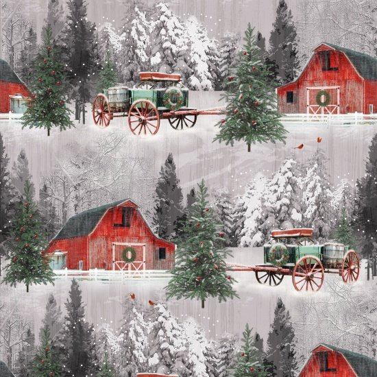 Holiday Wishes - Red barn and horse buggy in snow. 6929 86