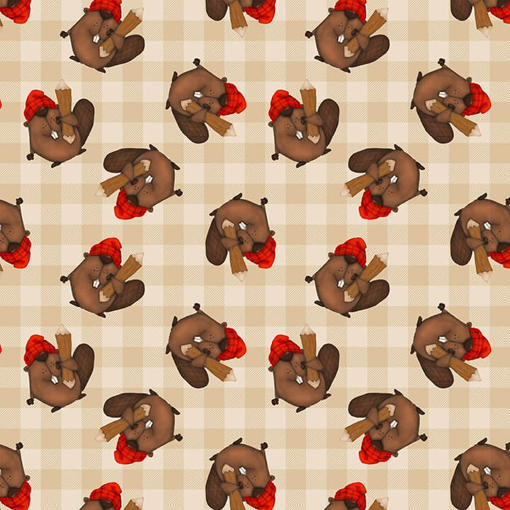 Timber Gnomies - Tossed Beavers Allover Q9267 33 Beige