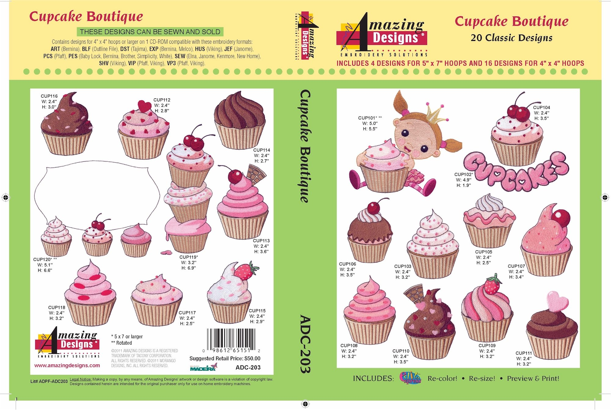 ADC-203 Cupcake Boutique Embroidery CD