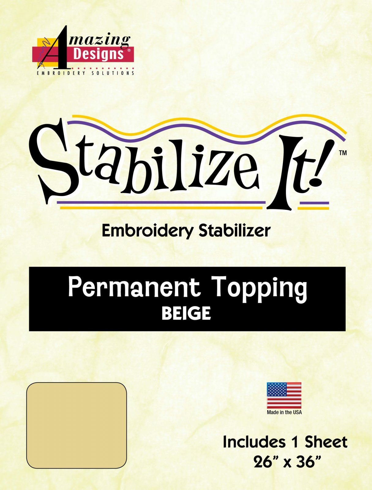 Stabilize It! 26 x 36 Sheet Beige Permanent Embroidery Topping