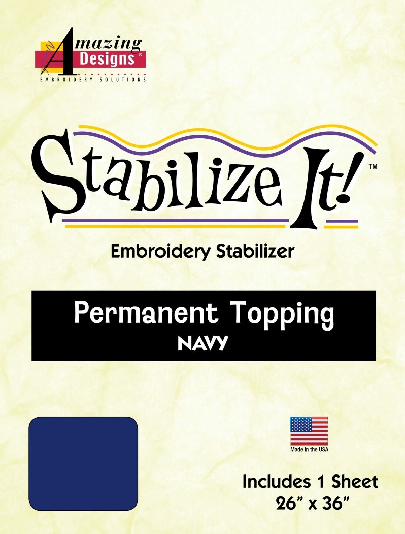 Stabilize It! 26 x 36 Sheet Navy Permanent Embroidery Topping