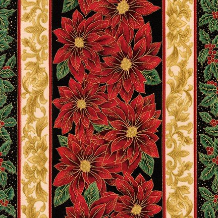 Holiday Flourish Metallic 12 Border Stripe - Black 18339 2