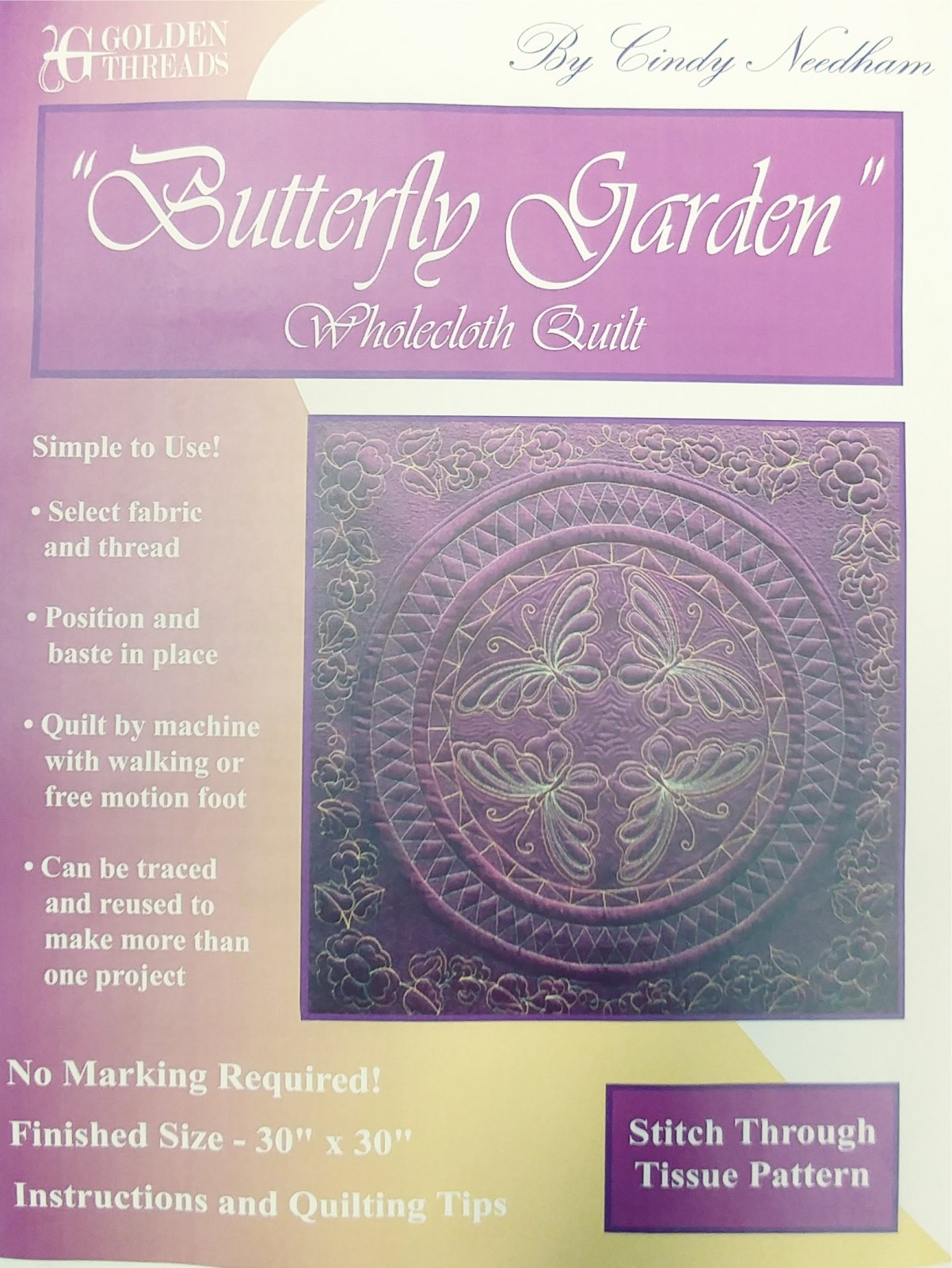 Butterfly Garden Wholecloth Quilt Stitch Through Pattern