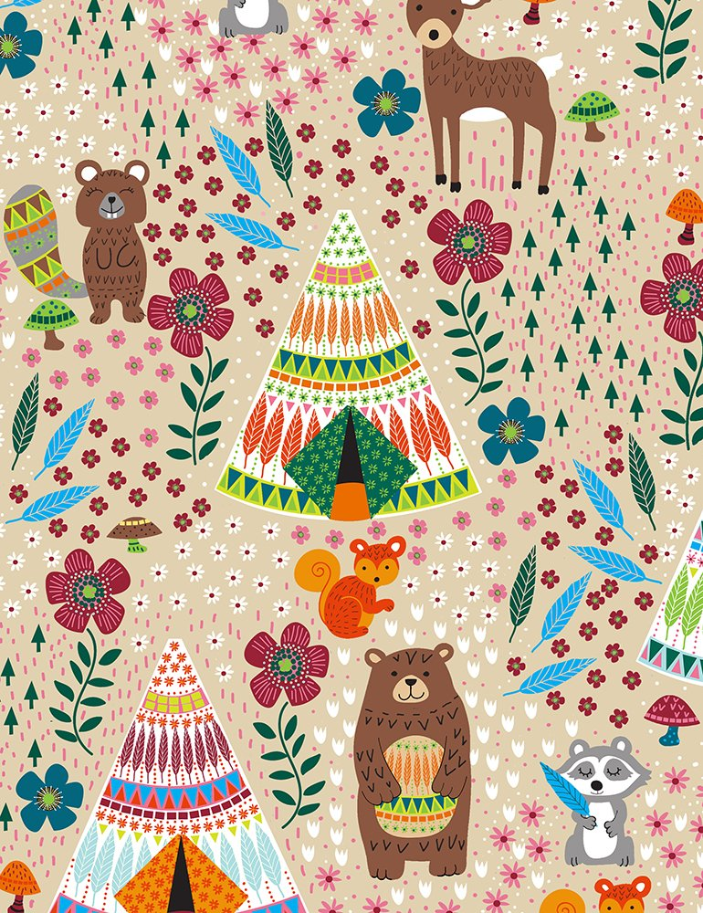Away - Teepees and Forest Animals Latte C6786