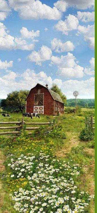 Hoffman Digital Cuddle Panel #301 - Farm 29 x 58/60 Green