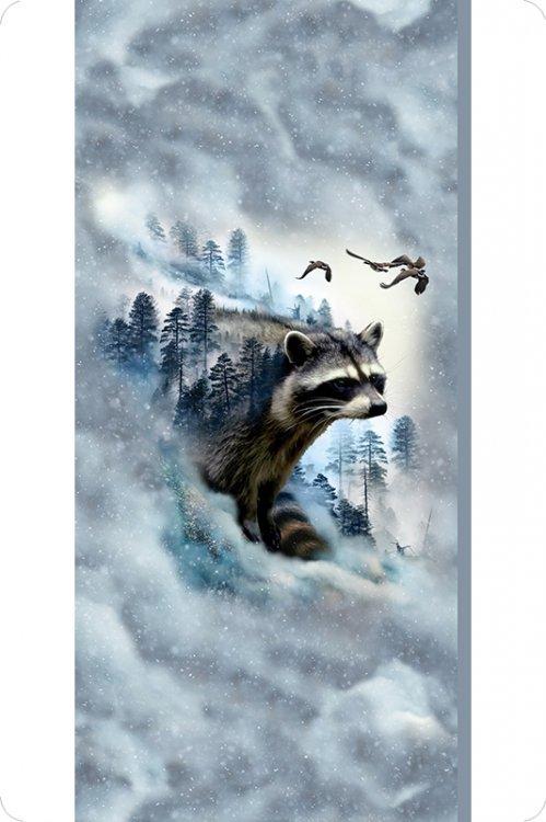 Hoffman Digital Cuddle Panel #300 - Raccoon 29 x 58/60 Black