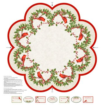Cardinal Woods tree Skirt or Table Topper Panel #273 - Cream 22843 11