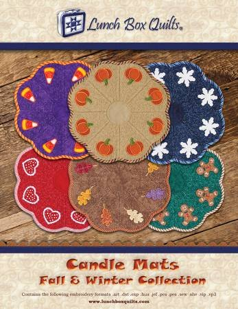 Candle Mats Fall and Winter Collection Applique Machine Embroidery Designs