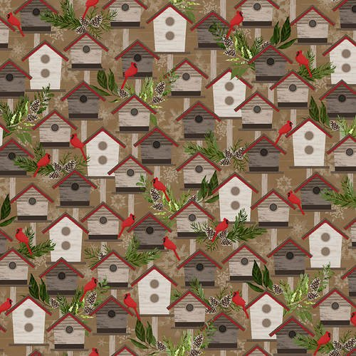 Woodland Haven Flannel - Birdhouses Brown Multi F1733 33