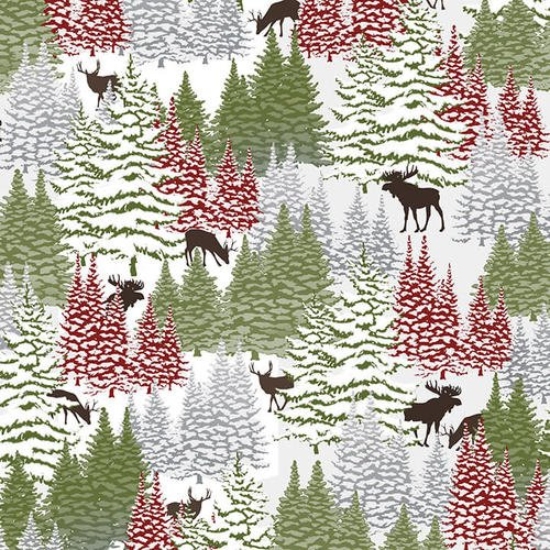 Woodland Haven Flannel - Trees and Small Animals Green F1734 68