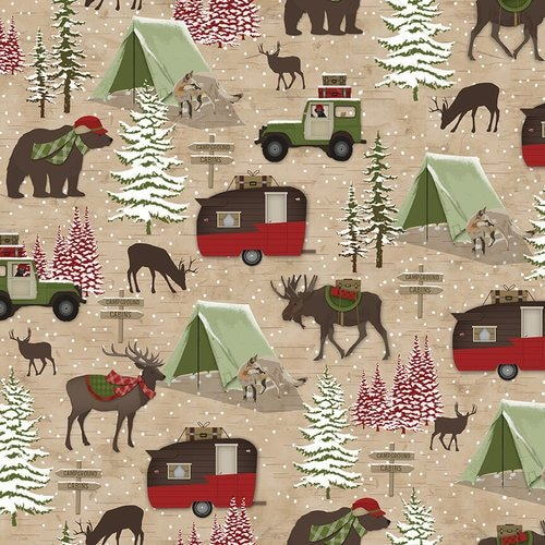 Woodland Haven Flannel - Animals, Camping Brown F1736 33