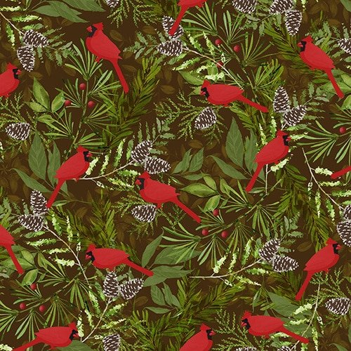 Woodland Haven Flannel - Cardinals on Branches Brown Multi F1741 33