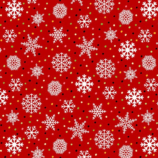 Snow Bird Flannel - Snowflakes 9117 88 Red