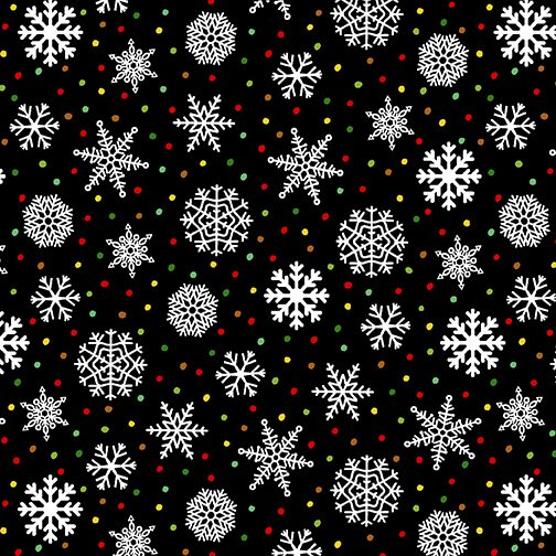 Snow Bird Flannel - Snowflakes 9117 99 Black