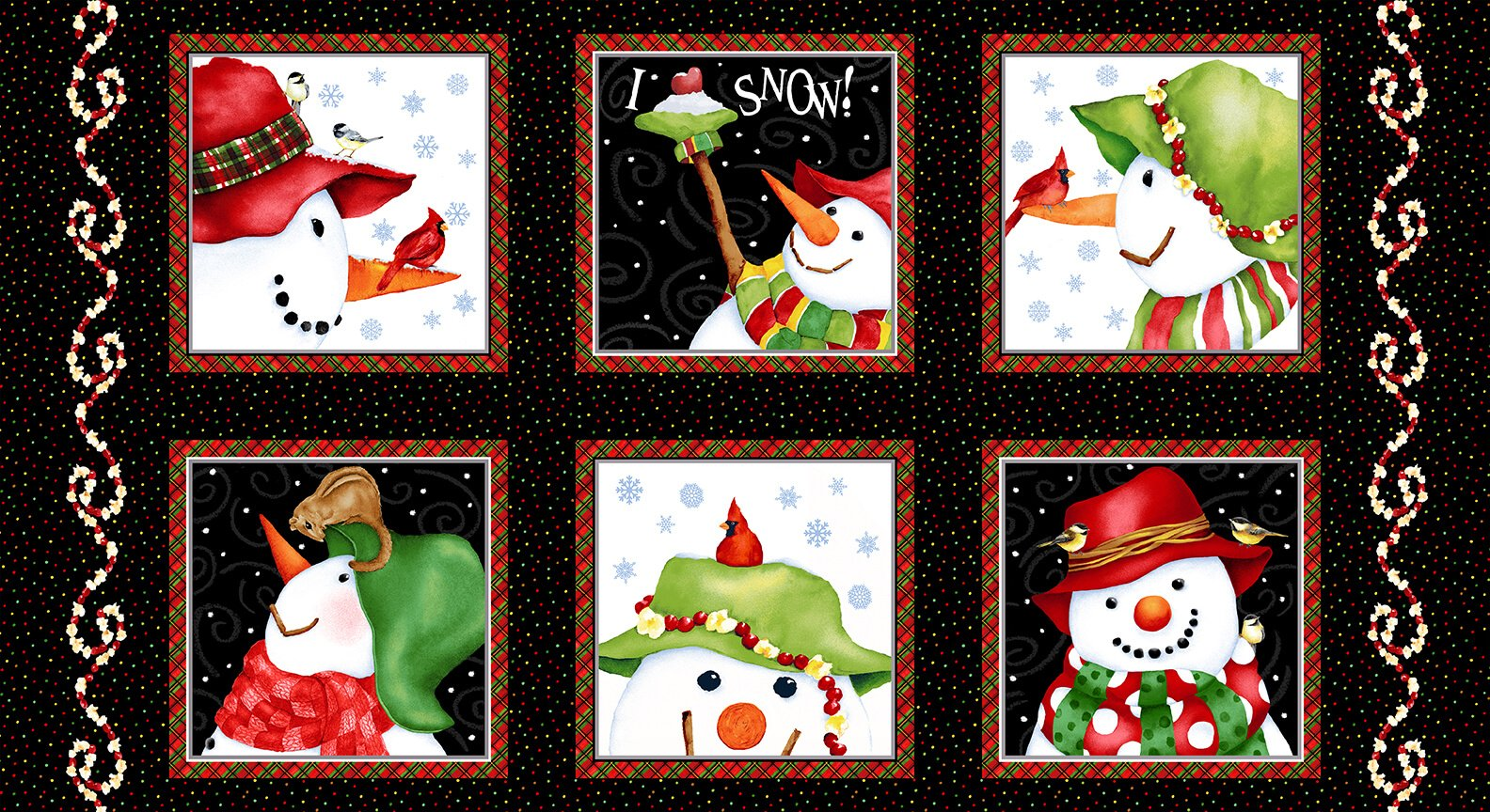 Snow Bird Flannel Panel #155 - 9118 99 Black
