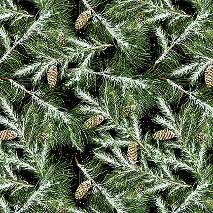 Snow Bird Flannel - Green Branches 9120 99 Black