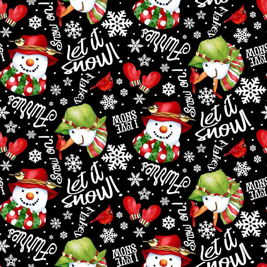 Snow Bird Flannel - Tossed Words and Snowmen 9123 99 Black