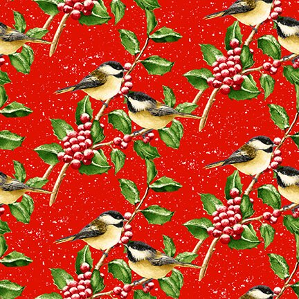 Snow Bird Flannel - Chickadees on Berry Branches 9124 88 Red