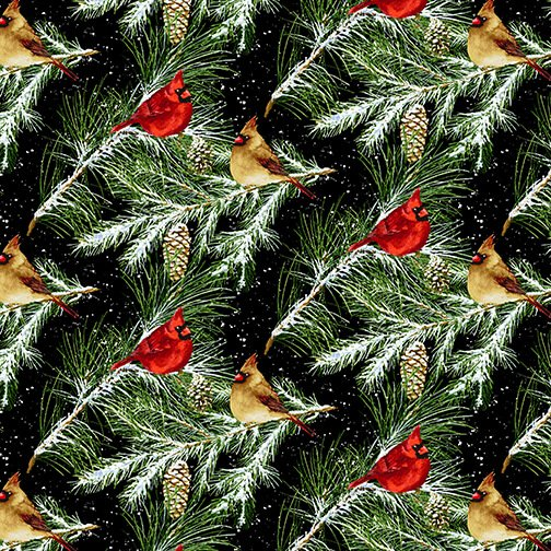 Snow Bird Flannel - Cardinals on Branches 9125 99 Black