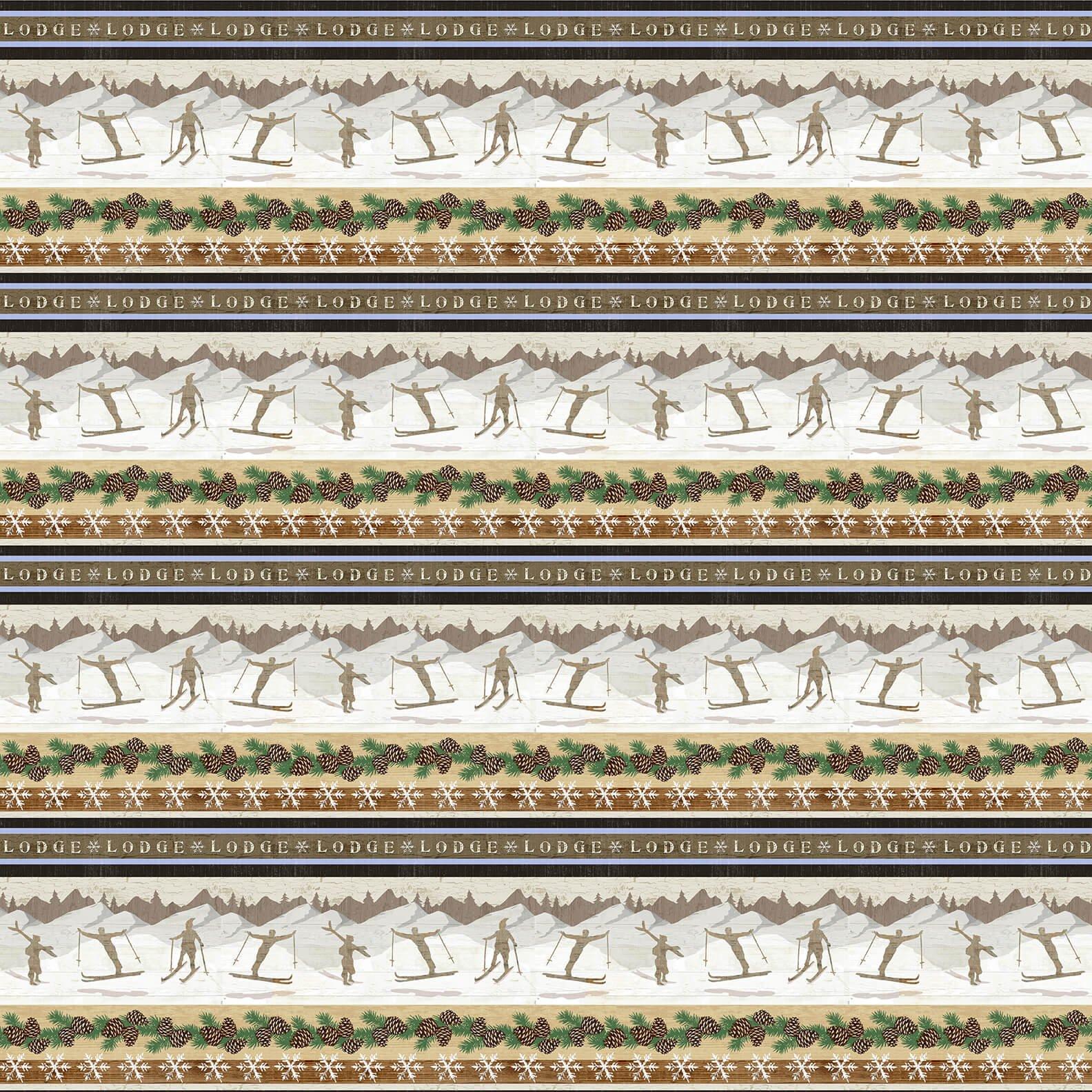 Pine Cone Lodge Flannel - Stripe 9261 33 Multi