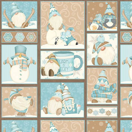 I Love Sn'Gnomies Flannel - Gnome Patchwork F9635 13 Aqua and Beige