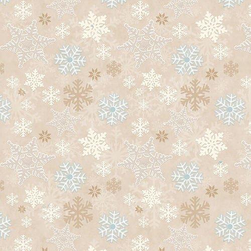 I Love Sn'Gnomies Flannel - Snowflake Allover F9636 33 Beige