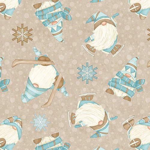 I Love Sn'Gnomies Flannel - Skiing Gnomes F9641 33 Beige