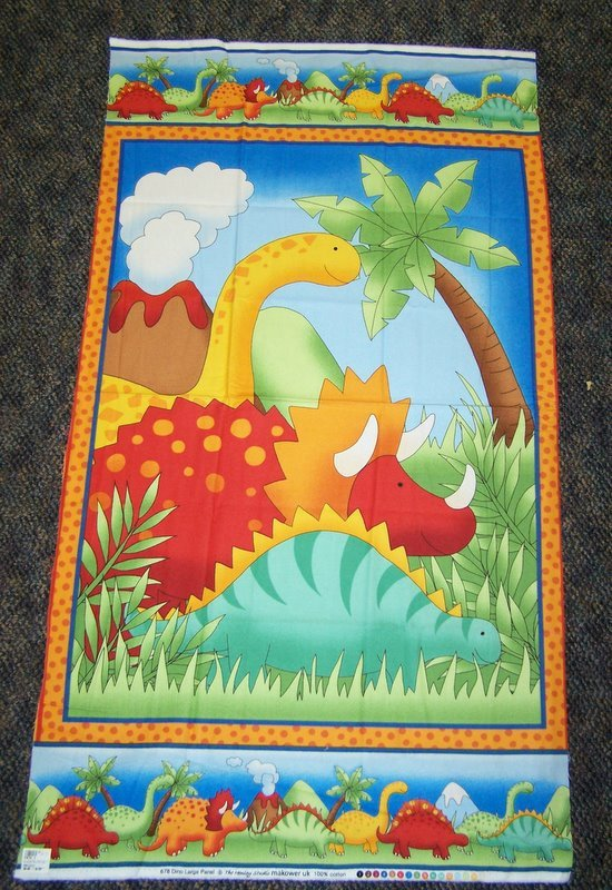 Flannel Dino Quilt Panel #217