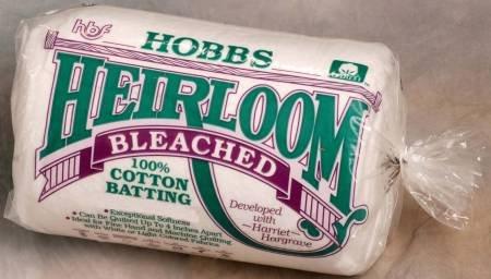 Hobbs Heirloom Bleached Batting 100% Cotton King 120 x 120