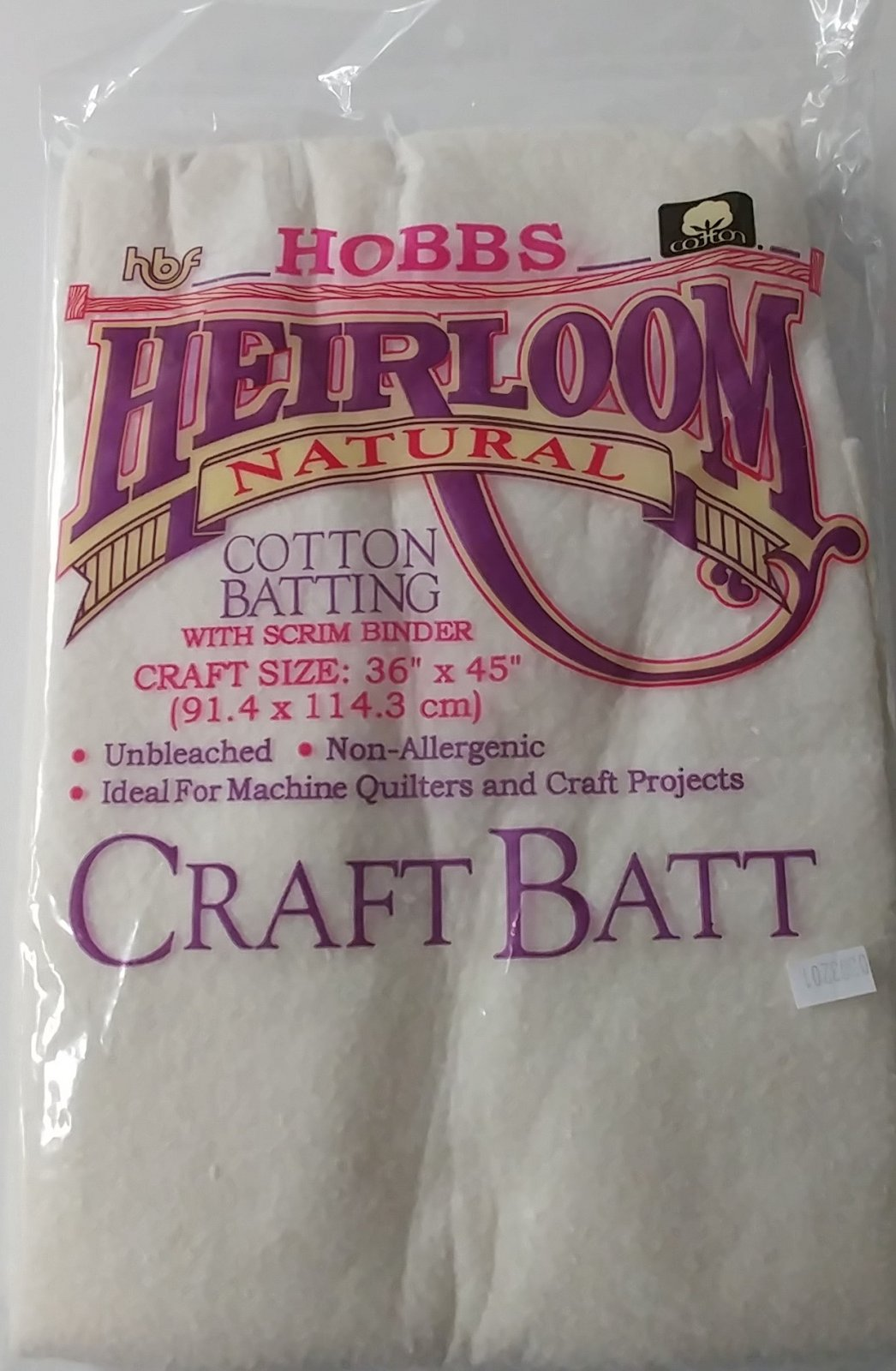 Hobbs Batting Heirloom Natural Unbleached Cotton with Scrim 36 x 45 HNS36
