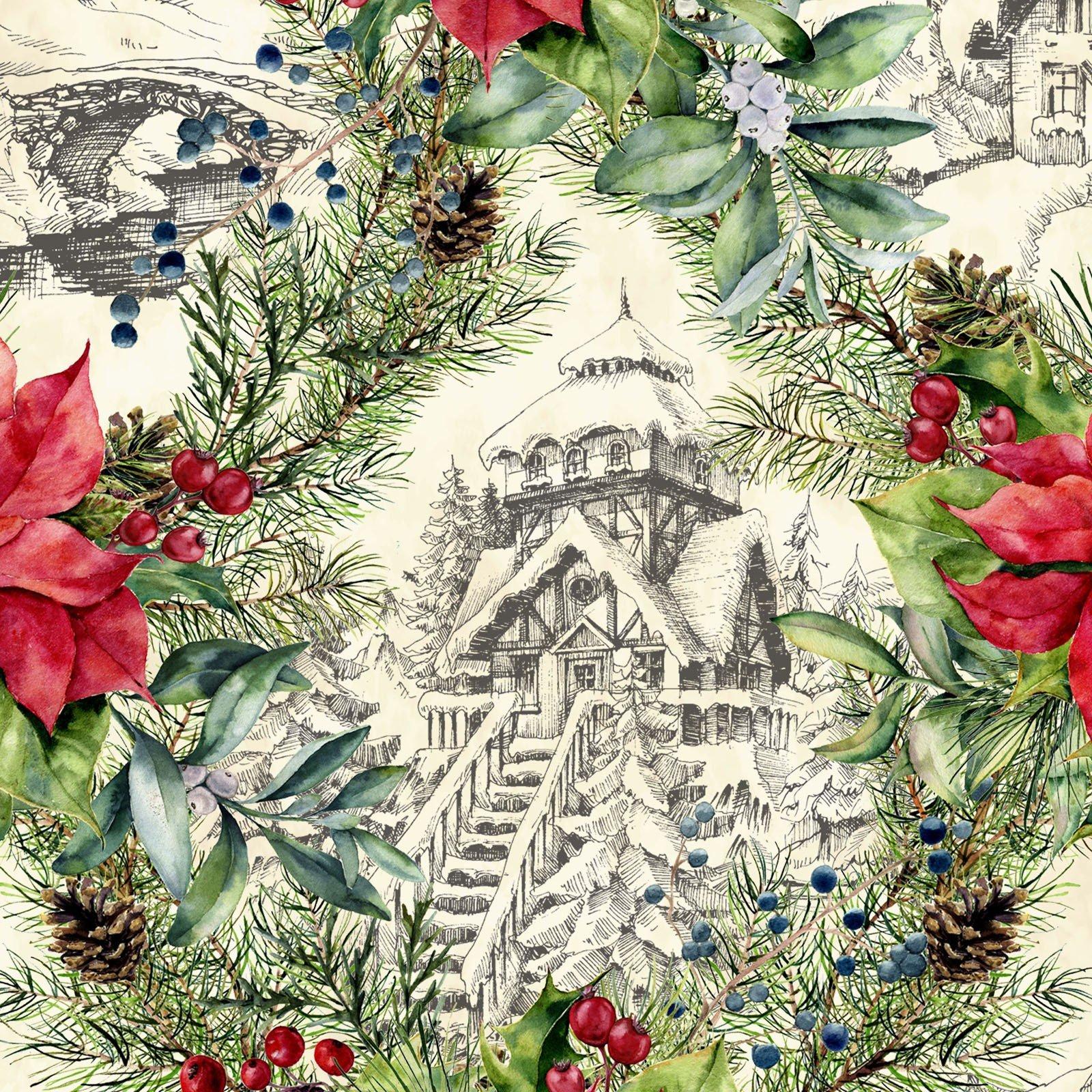 A Poinsettia Winter - Red/Green Digital 3APW 1