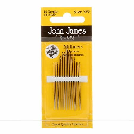 John James Milliners / Straw Needles Assorted Sizes 3/9 16ct JJ150-3-9