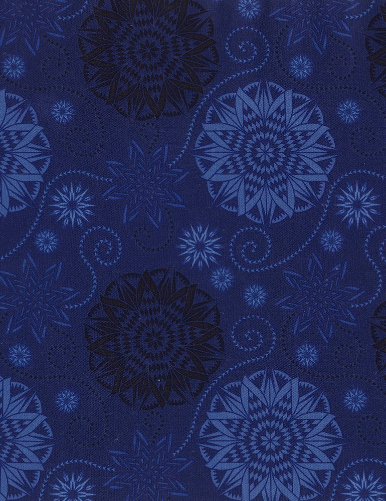 Bohemian Blues - Quilterly Medallions Medium Navy C5770